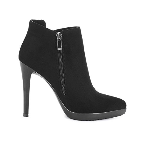 KingRover Women's Zip Thin High Heel Pointed Toe Suede Ankle Boot Black gQjCE
