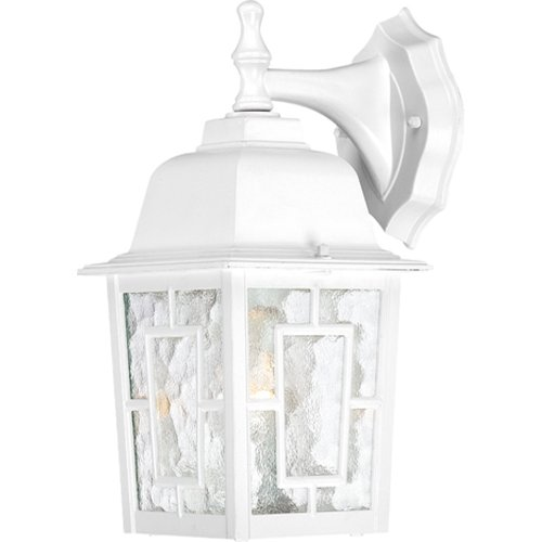 Light 1 Arm Down (Nuvo Lighting 60/4921 Banyon One Light Wall Lantern/Arm Down 100 Watt A19 Max. Clear Water Glass White Outdoor Fixture)