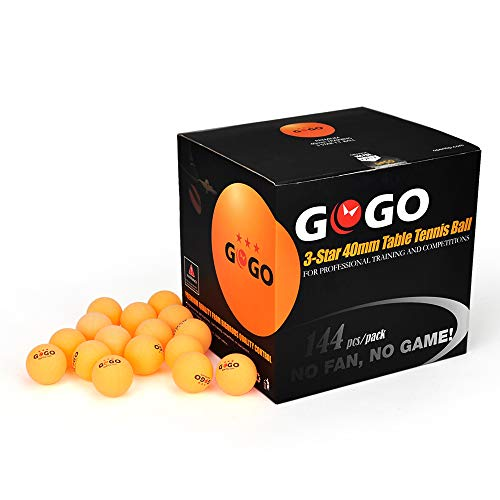 GOGO 144PCS 3-Star Ping Pong Balls Premium 40mm Seamless Table Tennis - Pingpong Server
