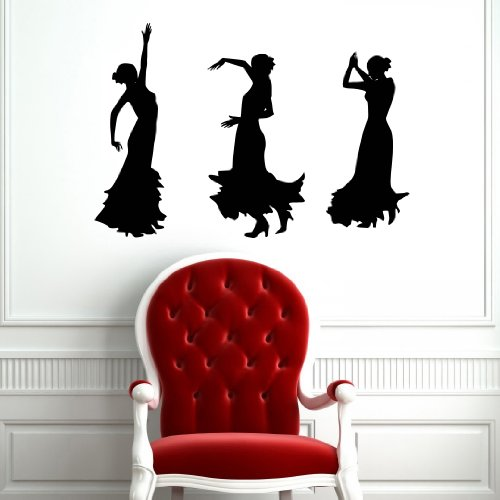 Girls in Dress Women Dancing Silhouette Flamenco Wall Vinyl Decals Art Sticker Home Modern Stylish Interior Decor for Any Room Smooth and Flat Surfaces Housewares Murals Design Window Graphic Dance Studio Bedroom Living Room (5113) -