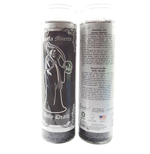 Blanc Santa (La Santa Muerte Veladora Candle English and Spanish Prayer Choose Red or Black (black))