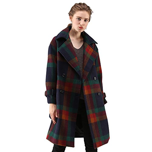 Wholesale Chicwish Women's Notched Lapel Double-Breasted Longline colorful Red and Green Check Belted Wool Blend Coat