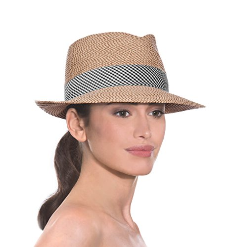 Eric Javits Luxury Fashion Designer Women's Headwear Hat - Squishee Classic - Peanut/Black Check