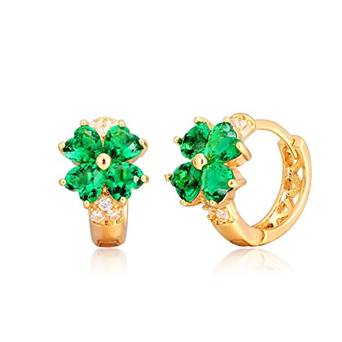 Green Earrings Huggie (Windshow Girls 18K Gold Plated 4 Leaf Clover Heart Cut Small Hoop Huggie Earring (Green))