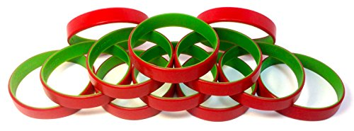 [1 Dozen Multi-Pack Red ColorSpray on Green Wristbands Bracelets Silicone Rubber - Christmas Holiday Themed (Red on Green, Adult (8