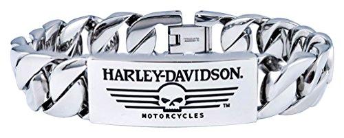 Harley-Davidson Men's Willie G Skull Steel ID Curb Link Bracelet HSB0140 - Bracelets Harley