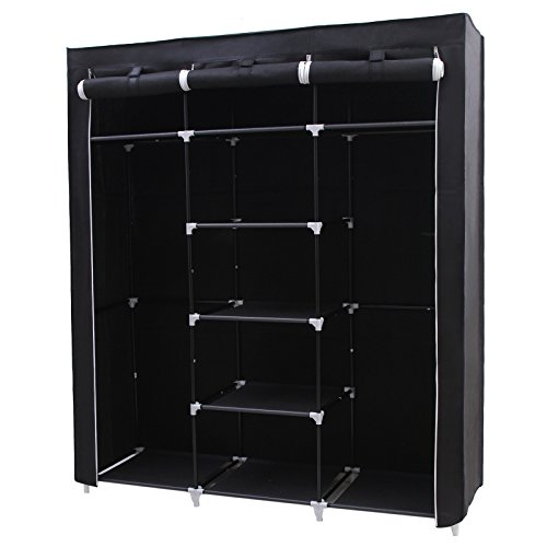 songmics-portable-clothes-closet-non-woven-fabric-wardrobe-double-rod-storage-organizer-black-59-inc