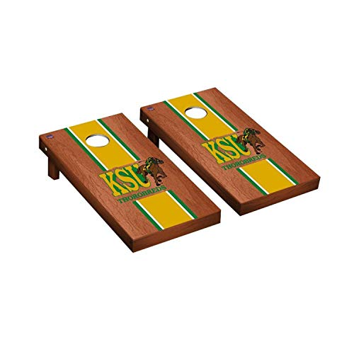 Victory Tailgate Regulation Collegiate NCAA Rosewood Stained Stripe Series Cornhole Board Set - 2 Boards, 8 Bags - Kentucky State Thorobreds
