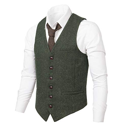 VOBOOM Men's Slim Fit Herringbone Tweed Suits Vest Premium Wool Blend Waistcoat (Army Green, XL)