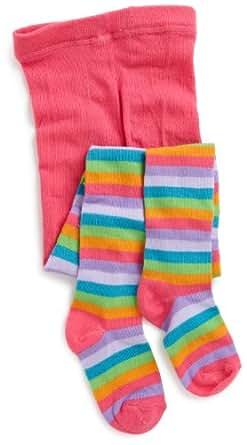 Jacques Moret Big Girls'  Striped Sweater Tights, Multi, Medium 7-10