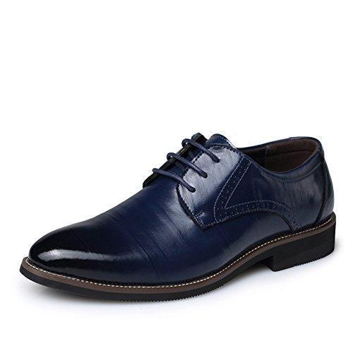 Delamode Mannen Echt Varkenshuid Leder Tekening Textuur Schoenen Business Engeland Sapato Blauw