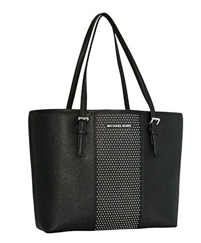 MICHAEL Michael Kors Women's Jet Set Travel Micro Stud Leather Carry All Tote Handbag (Black) by MICHAEL Michael Kors