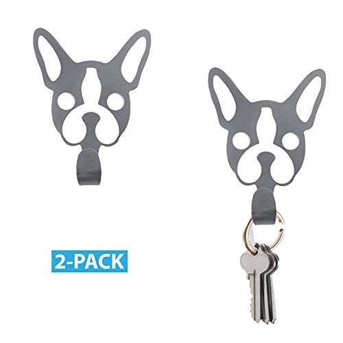 NOX Design Pascal The Dog Wall Mounted Metal Key Holder Modern, Key Ring Holder, Cute Key Holder, Dog Leash Hook, Single Wall Hook, Decorative Hooks, Dog Hook, Set of 2 + 3M Stickers Included
