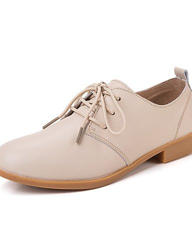 ZQ 2016 Zapatos de mujer - Tacón Plano - Comfort - Oxfords - Exterior / Vestido / Casual - Cuero - Marrón / Rosa / Blanco / Beige / Azul Marino , brown-us8.5 / eu39 / uk6.5 / cn40 , brown-us8.5 / eu39 pink-us6.5-7 / eu37 / uk4.5-5 / cn37