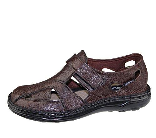Herren Klettverschluss Sandalen Walking Fashion Casual Sommer Strand Slipper Leder Schuhe Größe - Mild Brown