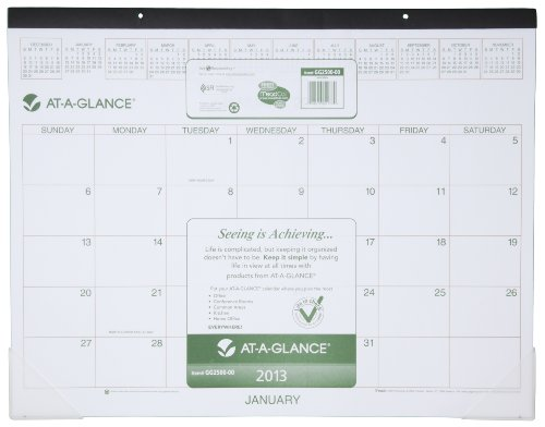 AT-A-GLANCE Recycled Two-Color Desk Pad, 22 x 17 Inches, Black, 2013 (GG2500-00)