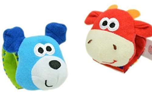 Hand Wrist Baby Toys Soft Infant Strap Rattles Developmental Toys (Cow & Dog)
