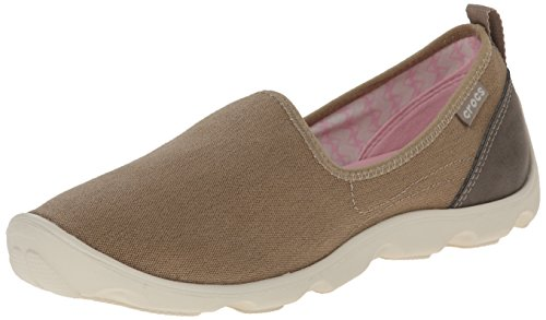 crocs Women's Busy Day Canvas Skimmer Fashion Sneaker, Khaki/Stucco, 7 M (Croc Tab)