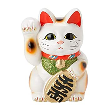 Made in Japan Lucky Cat 7.5 Tokoname Porcelain White Maneki Neko Right Hand