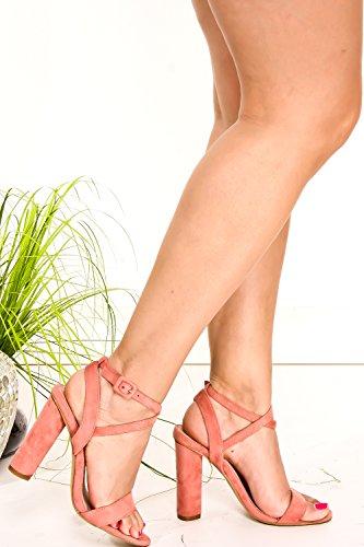 Dnd Anna Pu Open Toe Ritaglio Laterale E Posteriore Look Cinturino Alla Caviglia Zeppa Tacco Rosablushvvsuede-m05-10