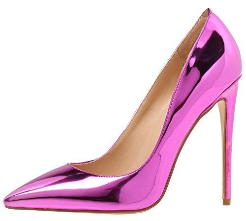 (AOOAR Women's Stiletto Heel Pumps Purple Mirror Patent Party Shoes 7.5 M US)