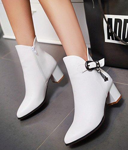 White Zip Heels Mid Chunky Up Aisun Women's Booties Chic Short 4REqwzn1