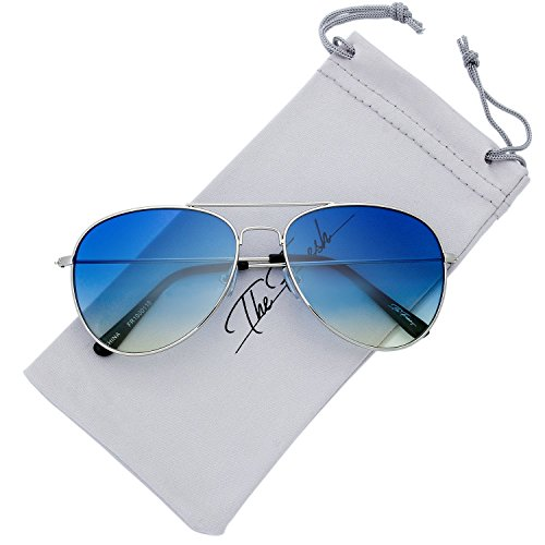 The Fresh Classic Large Metal Frame Oceanic Color Lens Aviator Sunglasses with Gift Box (Silver, ()