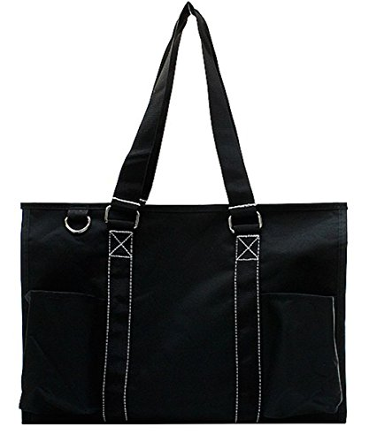 N Gil All Purpose Organizer Medium Utility Tote Bag (Solid Black) (Tote Bag With Pockets)