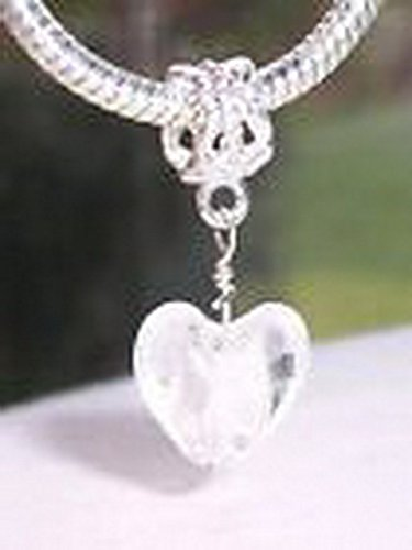 Glamorise Beads #14341 White Foil Murano Glass Heart Dangle Bead fits Silver European Charm Bracelet -