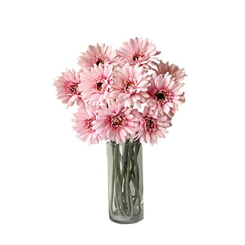 Rae's Garden Artificial Flowers Realistic Fake Flowers Gerbera Daisy Bridal Wedding Bouquet for Home Garden Wedding Party Decorations 10 Pcs (Pink) -