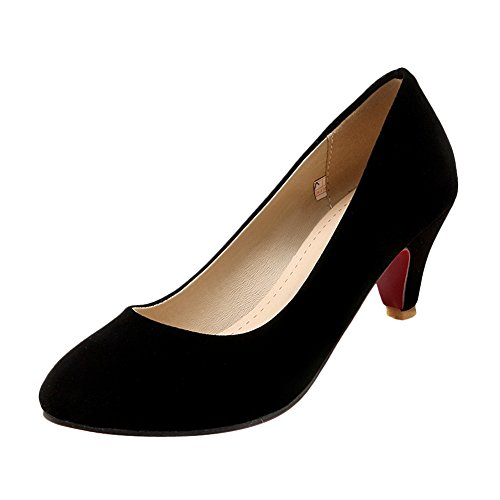 Latasa Dames Effen Kleur Mid-hoge Hak Suede Pumps Schoenen Zwart