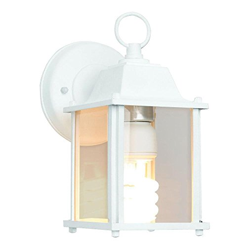 Newport Coastal White 13 Watt CFL Square Porch Light With Bulb (Cfl Wall 13w Mount)