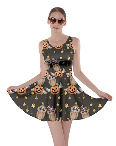CowCow Womens Black Halloween Two Cartoon Owls with