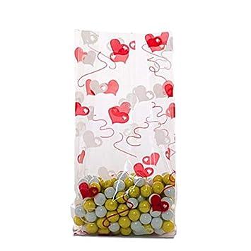 Amazon.com: Bolsas de celofán con diseño de corazones de 10 ...