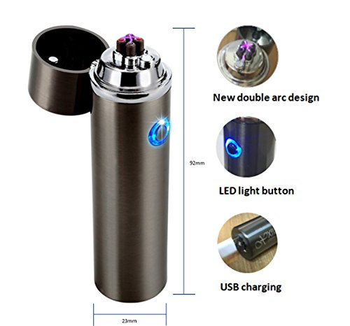 Electronic Double Arc USB Rechargeable Lighter - Flameless Butane Free Revolutionary Plasma X Beam - Wind & Splash proof - Perfect for Pipe,Cigar,Cigarette,Candle,Camping,Stove & more -Luxury Gift set