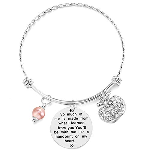 ELOI Teacher Appreciation Bracelet So Much of Me is Made from What I Learned from You Bangle Graduation Gift for Teachers (Gift For Teacher From Student On Teachers Day)