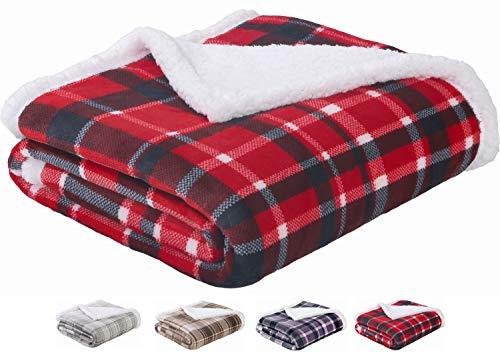 - Sedona House Sherpa Blanket Throw Red Plaid - Luxury Flannel Fleece Warm Cozy Fuzzy Blanket, Size 50