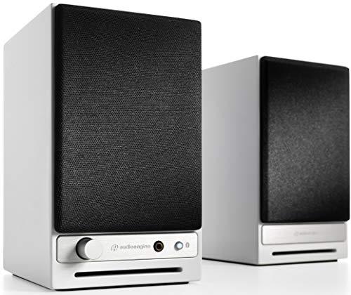 Audioengine HD3 60W Wireless Powered Desktop Speakers, Bluetooth aptX HD, USB 24-Bit DAC & Analog Amplifier (White) (Speaker Desktop Wireless)