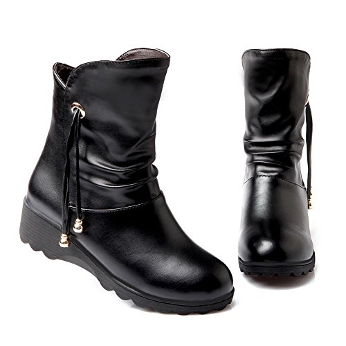 Pull Material Soft Top Toe On Closed Women's Allhqfashion Low Boots Heels Black Round Low wPt0Exq55