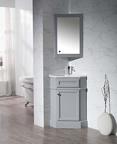 Corner Bathroom Vanity Cabinet - Stufurhome TY-415GY Modern Hampton Corner Bathroom Vanity with Medicine Cabinet, Grey, 27