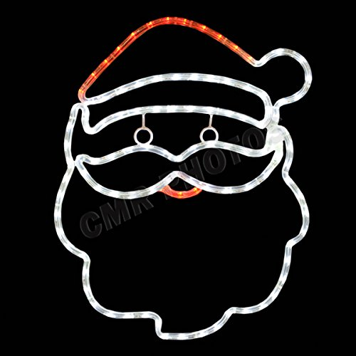 Brilliant Cool White and Red LED Santa Lighted Motif 20 Inches x 16 Inches Indoor/Outdoor Use