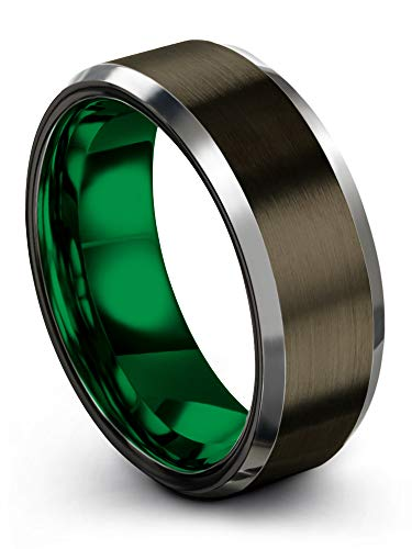 Chroma Color Collection Tungsten Carbide Wedding Band Ring 8mm for Men Women Green Interior with Gunmetal Exterior Beveled Edge Brushed Polished Comfort Fit Anniversary Size 7.5