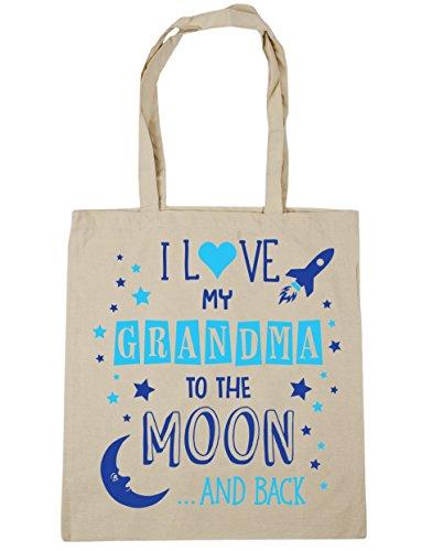 """HippoWarehouse bolsa tote para compras, gimnasio, playa con la inscripción """"I Love My Grandma to the Moon and Back"""" en azul, 42cm x 38cm, capacidad de 10litros Natural"""