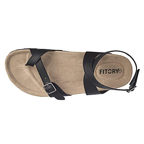87b962aed21a FITORY Womens Flat Sandals Toe Loop Cork Thong with Ankle Strap Comfort  Outdoor Shoes Size 6