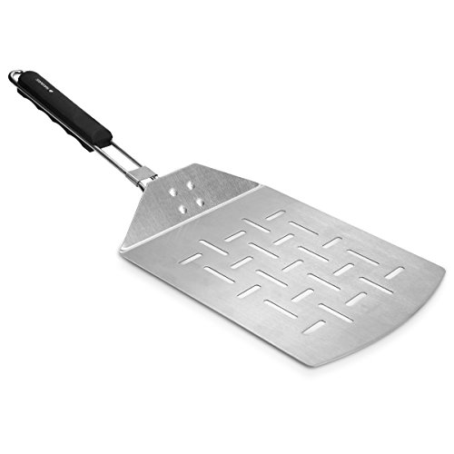 Navaris Stainless Steel Pizza Peel - Pizza Paddle with Folding Handle for Indoor/Outdoor Kitchen Oven Grill Gourmet Pizza Bread Baking 24.5 x 18.5 cm