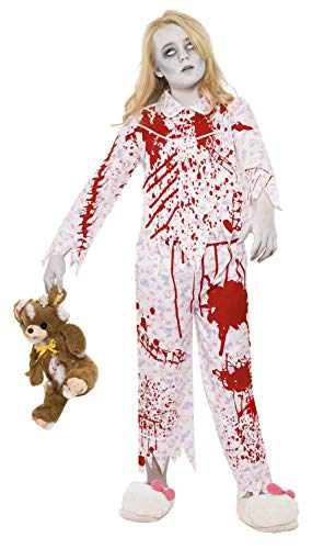 Smiffy's Children's Zombie Pyjama Girl Costume, Top & Trousers, Ages 7-9,
