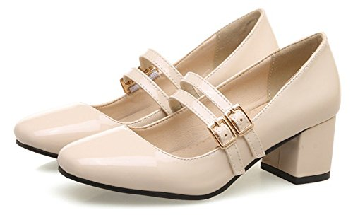 Aisun Womens Vintage Burnished Low Cut Square Toe Dressy Block Mid Heel Ankle Strap Pumps Shoes Apricot YhnWSr