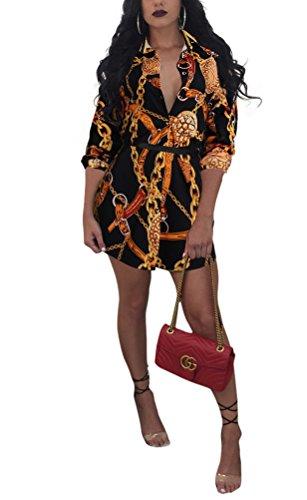- Remelon Womens Black Chains Print Button Down Collar Long Shirt Dress Blouse Mini Dress Black 1 Large