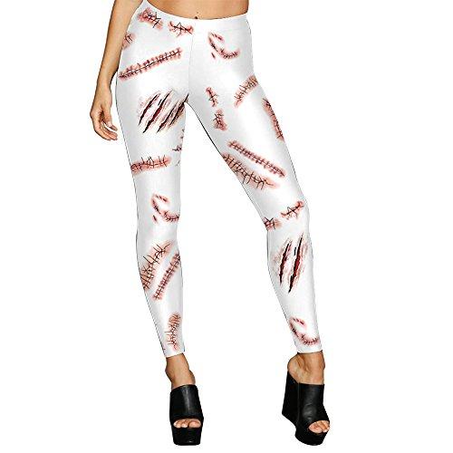 promenade yoga S Gububi cicatrice Leggings i di forma fisica elastici delle Dimensione fasciatura sottili di XL digitali del donne stampati S partito Halloween per 3D pantaloni della della di di agq8anFx