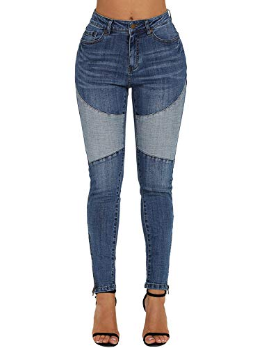 ROSKIKI Womens Skinny Jeans Midrise Pull On Stretchy Vintage Patch Front Ankle Zipped Sexy Long Denim Jean Leggings with Pockets Blue L ()